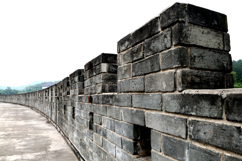 The city wall. The caesious bricked Chinese City wall rampart stock images