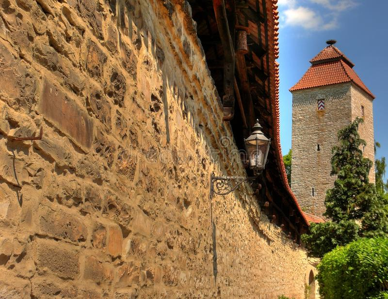 City wall. With watch tower in bavaria stock photos