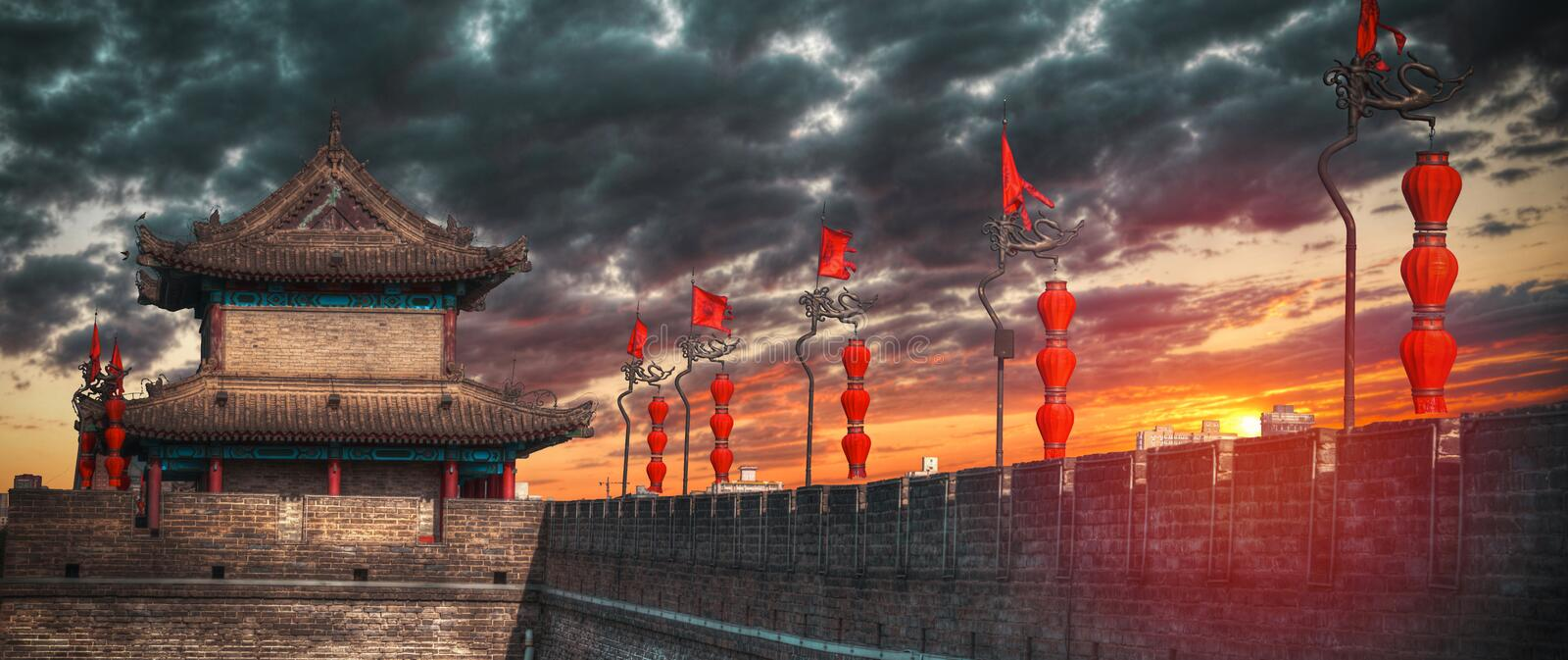 City wall of Xian. The city wall in around the old Xian. China royalty free stock images