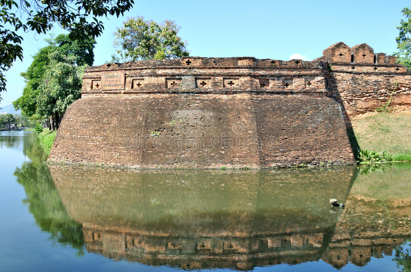 City Wall of Chiang Mai. City Wall in Chiang Mai,Thailand.Chiang Mai was a former capital of the Kingdom of Lanna (1296–1768) and was the tributary stock photography
