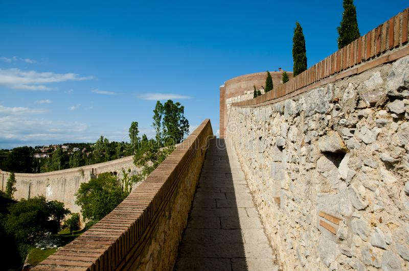 City Wall. Of Girona - Spain royalty free stock image