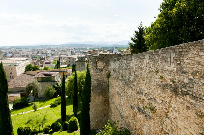 City Wall. In Girona - Spain royalty free stock image