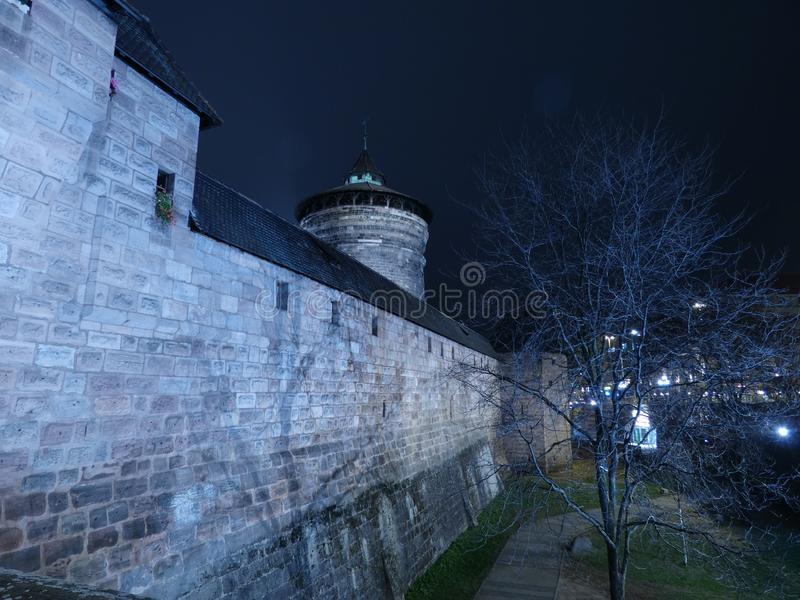 City Wall. Tower nrnberg night royalty free stock photos