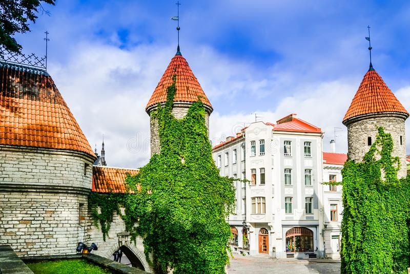City wall with defense stone towers in historical city of Tallinn - Estonia stock images