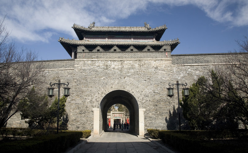 City Wall Gate Qufu China. City Wall Gate, Qufu, Shandong Pronvice, China, Entrance to Confucius Temple, Qufu is one fo the few cities in China that still has a stock images