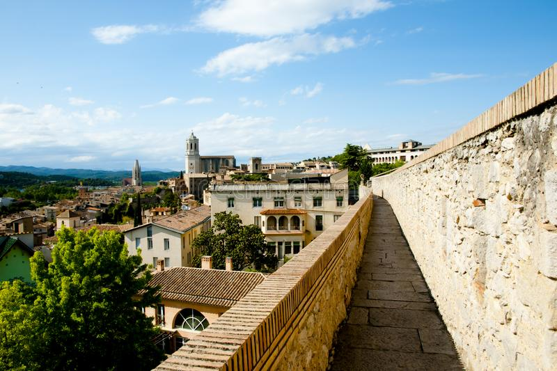 City Wall. In Girona - Spain stock photography
