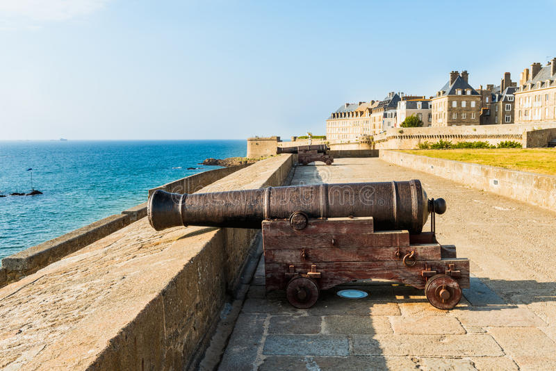 City wall houses of St. Malo Brittany, France. City wall and houses of St. Malo Brittany, France stock photos