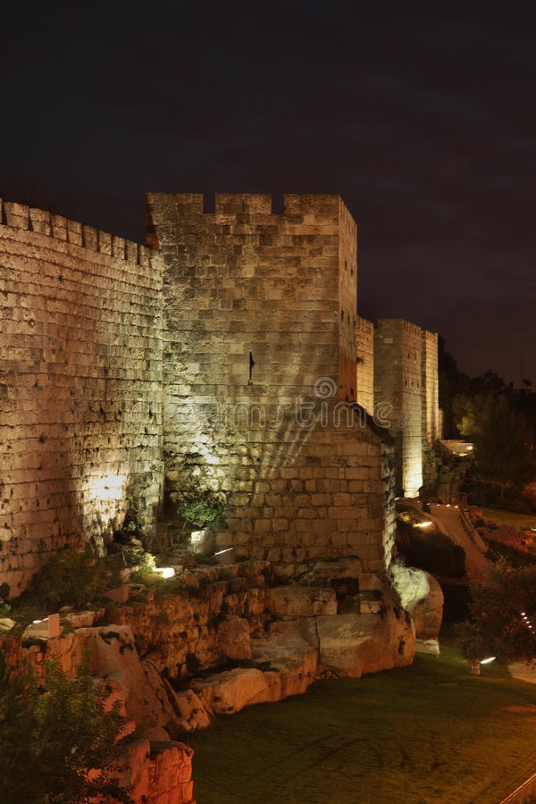 City wall in Jerusalem. Israel stock photo