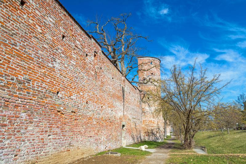 City wall, Landsberg, Germany. Medieval city wall, Landsberg, Bavaria, Germany stock image
