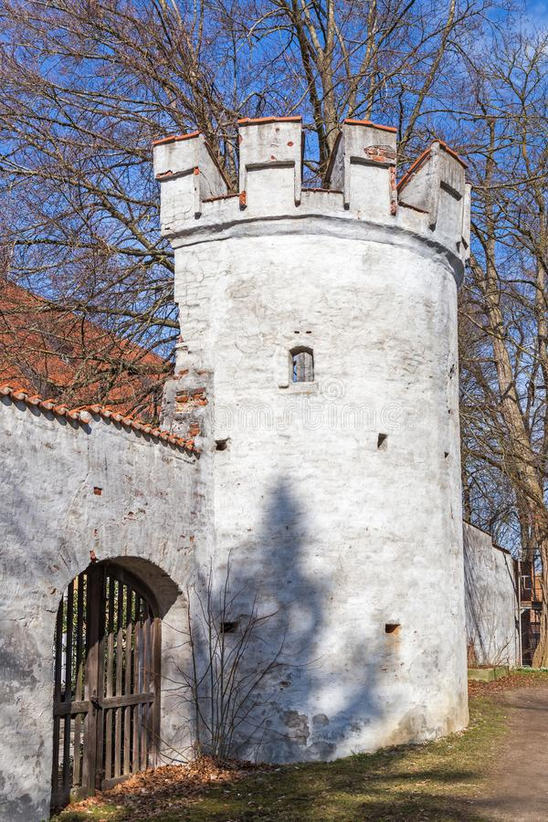 City wall, Landsberg, Germany. Medieval city wall, Landsberg, Bavaria, Germany stock photo