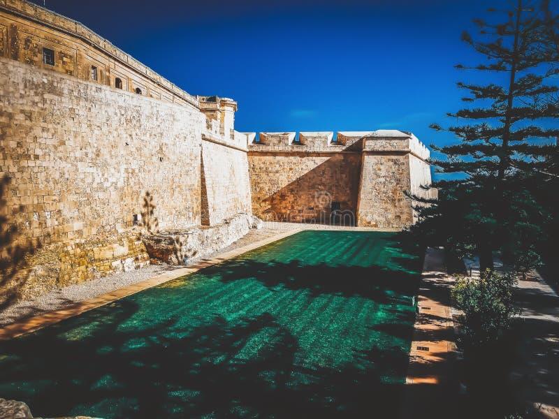City wall of Mdina. In Malta stock image