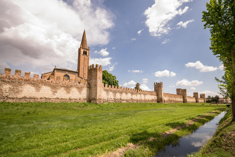 City wall of Montagnana, Italy. City wall of Montagnana, one of the most beautiful villages in Italy stock photos