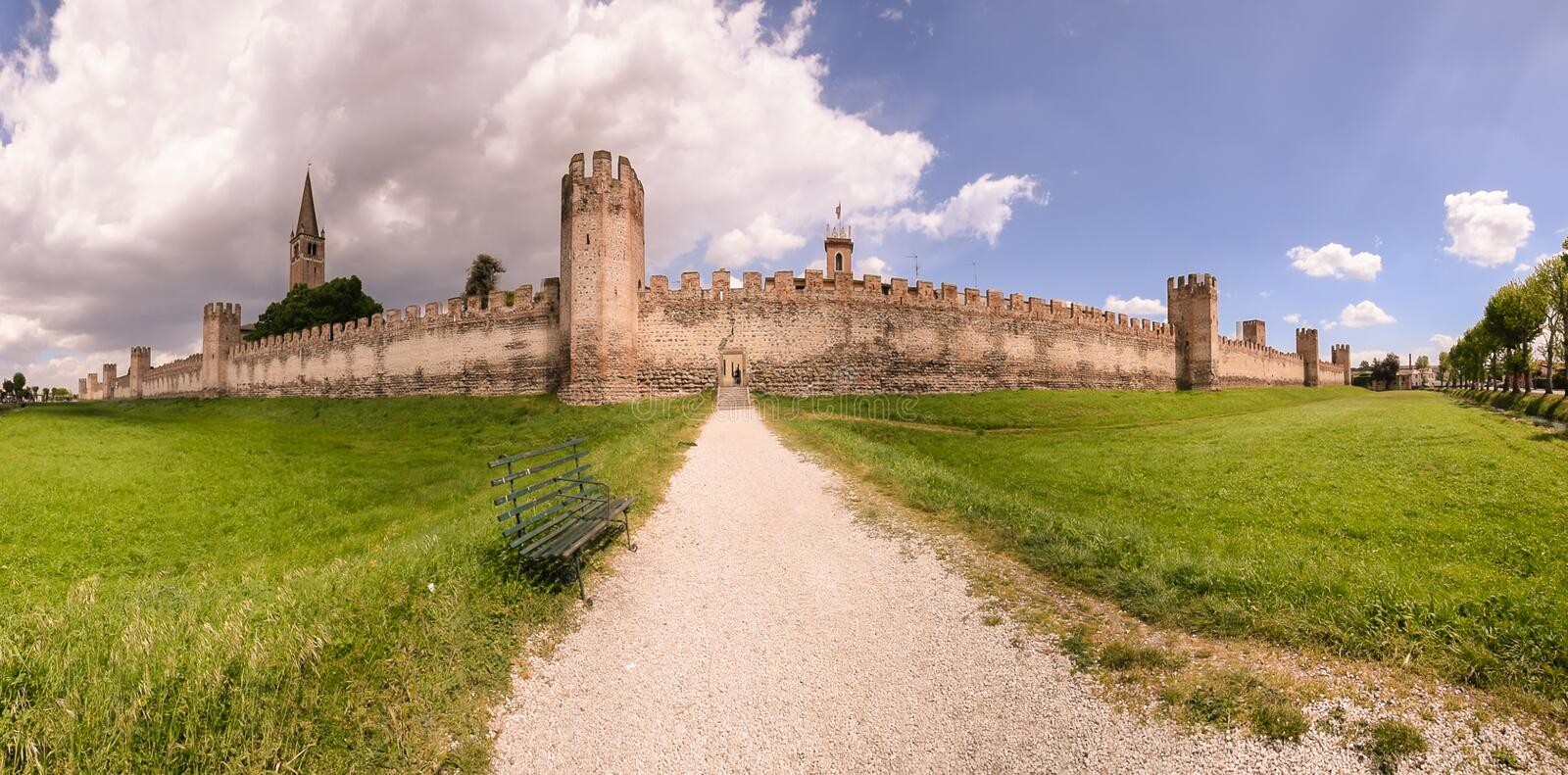 City wall of Montagnana, Italy. City wall of Montagnana, one of the most beautiful villages in Italy stock photography