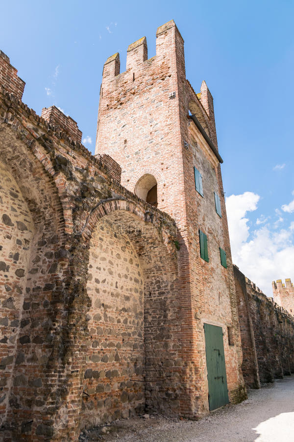 City wall of Montagnana, Italy. City wall of Montagnana, one of the most beautiful villages in Italy stock image