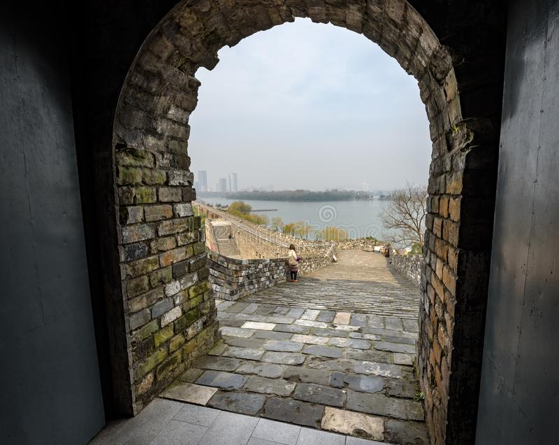 City Wall Nanjing China. The City Wall of Nanjing was among the largest city walls ever constructed in China. The enclosed Nanjing City is about 55 square royalty free stock photos
