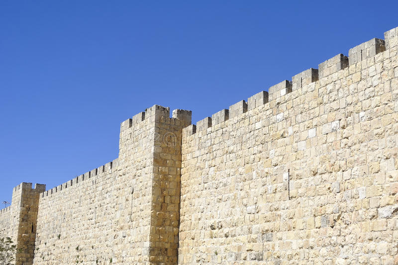 City wall of Old Jerusalem. Medieval city wall in Old City of Jerusalem, Israel royalty free stock images