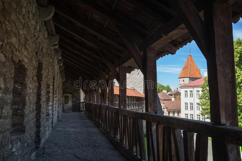 City wall at the Old Town in Tallinn. Medieval city wall or Town Wall or Walls of Tallinn and towers at the Old Town in Tallinn, Estonia, on a sunny day in the royalty free stock photos