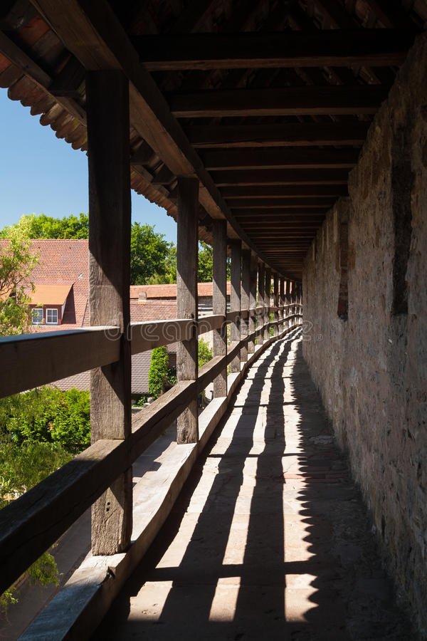 On the city wall of Rothenburg ob der Tauber. On the city wall of the ancient town Rothenburg ob der Tauber in Germany stock image