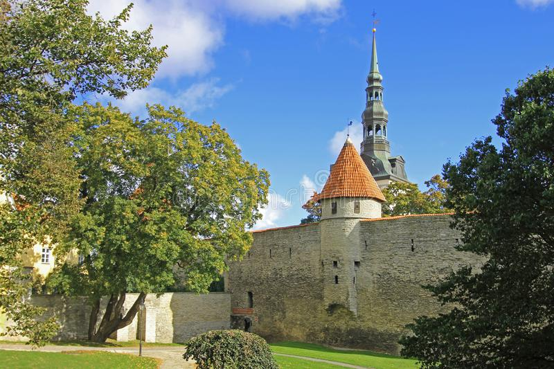 City wall with stone medieval tower, Tallinn, Estonia stock images