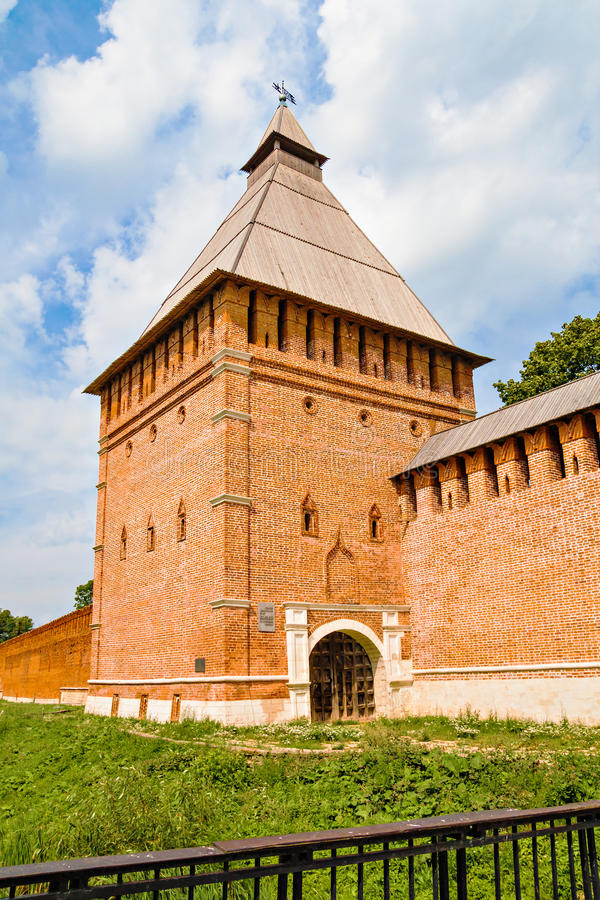 The city wall and tower. Of the ancient fortress of Smolensk, Russia stock photos