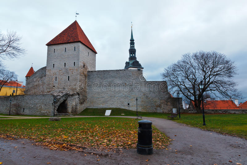 City Wall and Towers of Old Tallinn royalty free stock photos