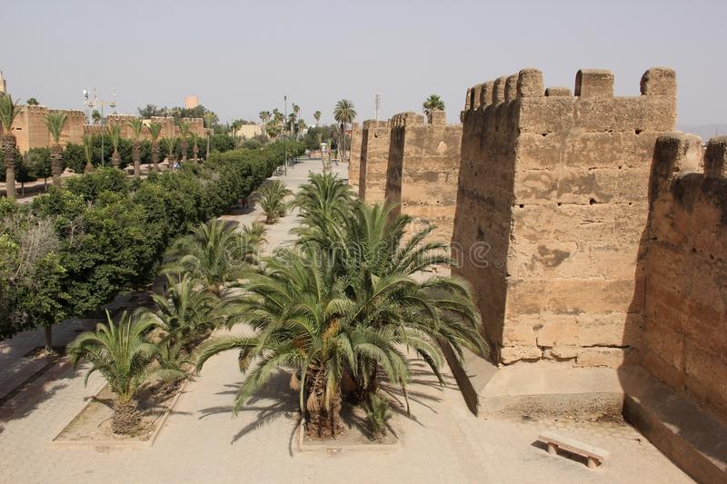City Wall. The watch towers of the City Wall of Taroudant, Morocco stock photos