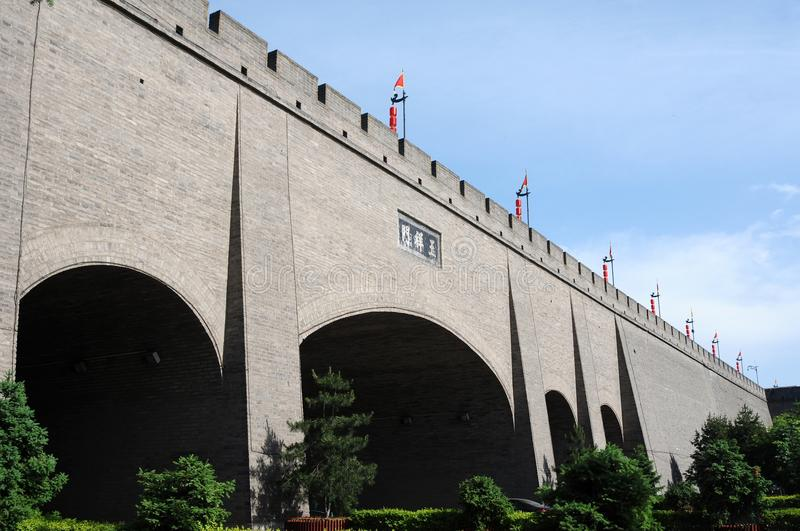 City wall of Xian. City wall in the ancient city of Xian China royalty free stock photos