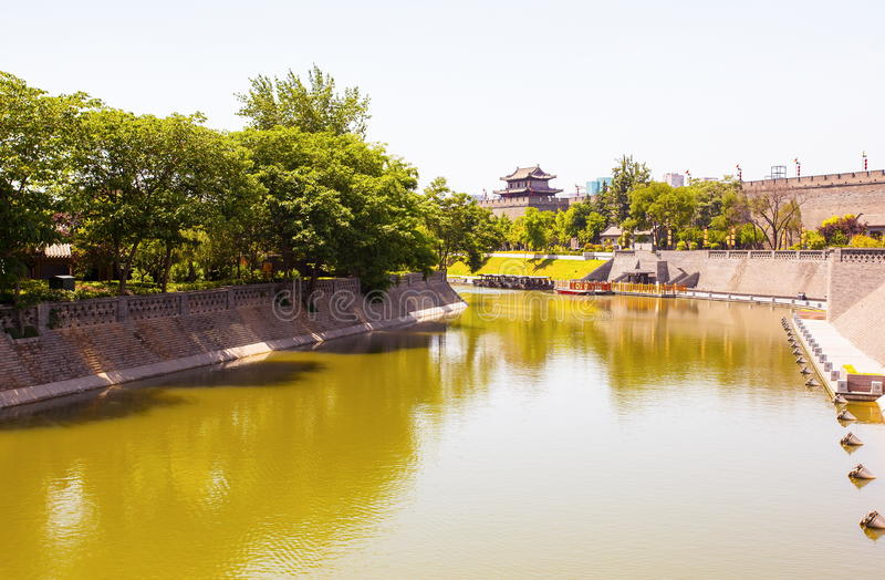 City Wall in Xian stock photography