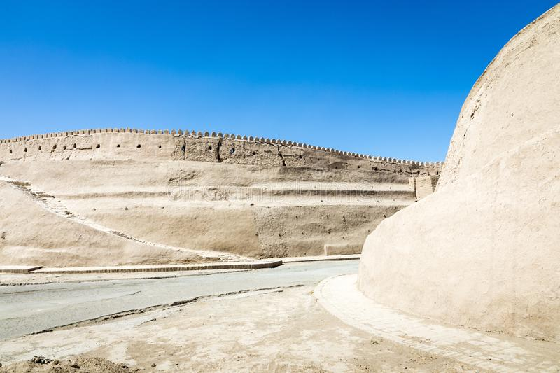 City walls of the ancient city of Khiva. UNESCO world heritage s stock photo