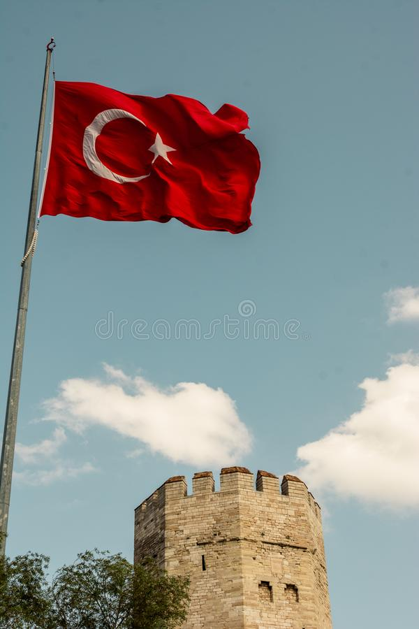 City walls of Constantinople in Istanbul, Turkey royalty free stock photos