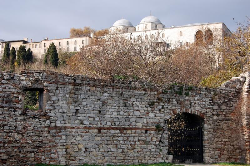 The city walls of Constantinople royalty free stock photography