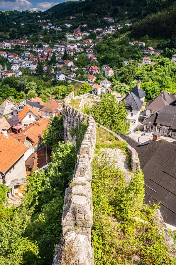 City walls of Jajce fortress in Bosnia and Herzegovina.  royalty free stock photography
