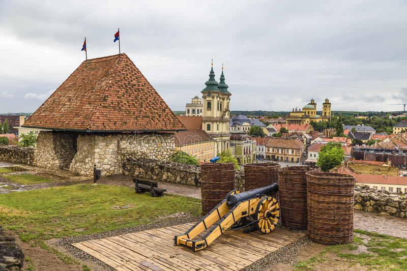 The city walls with lookout tower royalty free stock images