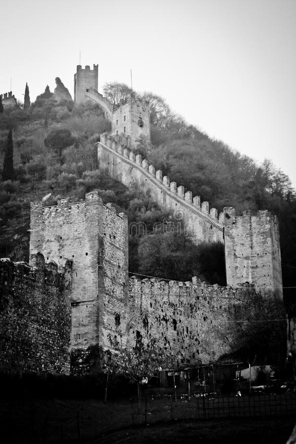 City walls of Marostica. Walls around city of Marostica Italy stock image