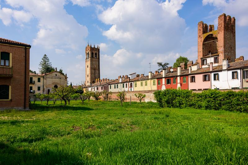 The city walls of Montagnana royalty free stock images