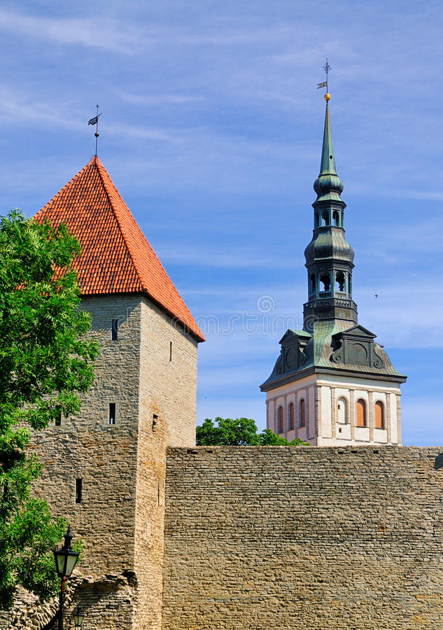 Download City Walls And St Nicholas Church, Tallinn Stock Images - Image: 23515914