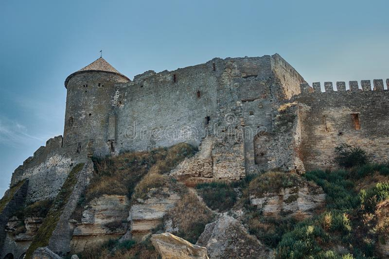 City walls and towers of the old fortress royalty free stock image