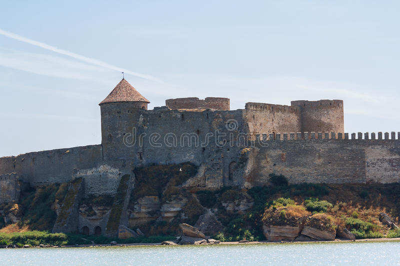 City walls and towers of the old fortress. Belgorod-Dniester stock image