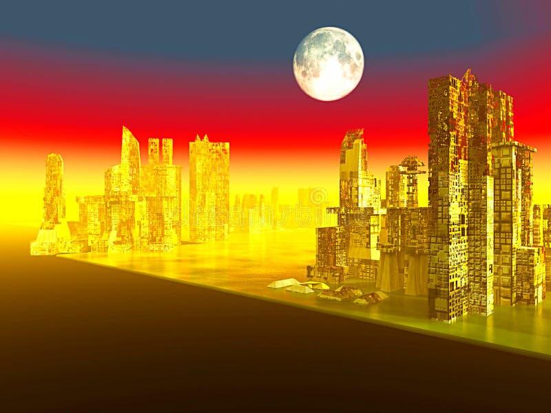City after war stock illustration