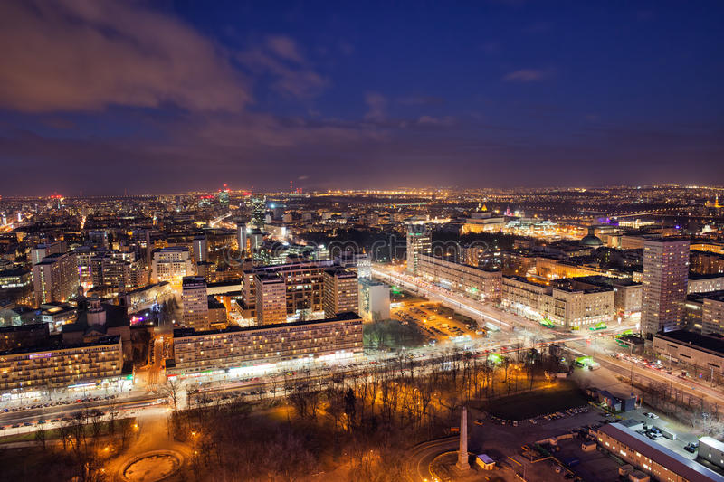 City of Warsaw by Night in Poland royalty free stock image