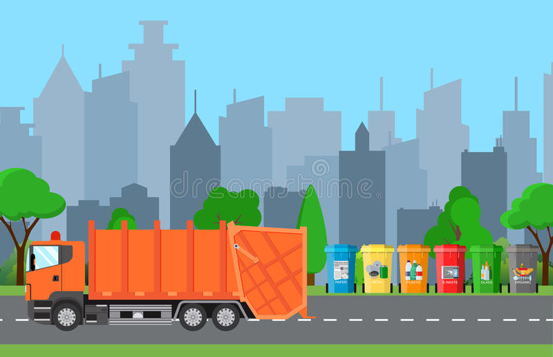 City waste recycling concept with garbage truck. Concept waste disposal and types sorting management. Vector illustration in flat design vector illustration
