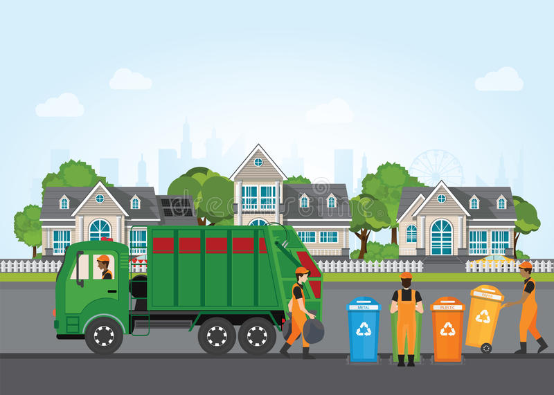 City waste recycling concept with garbage truck and garbage coll. Ector on village landscape background. Vector illustration in flat design stock illustration