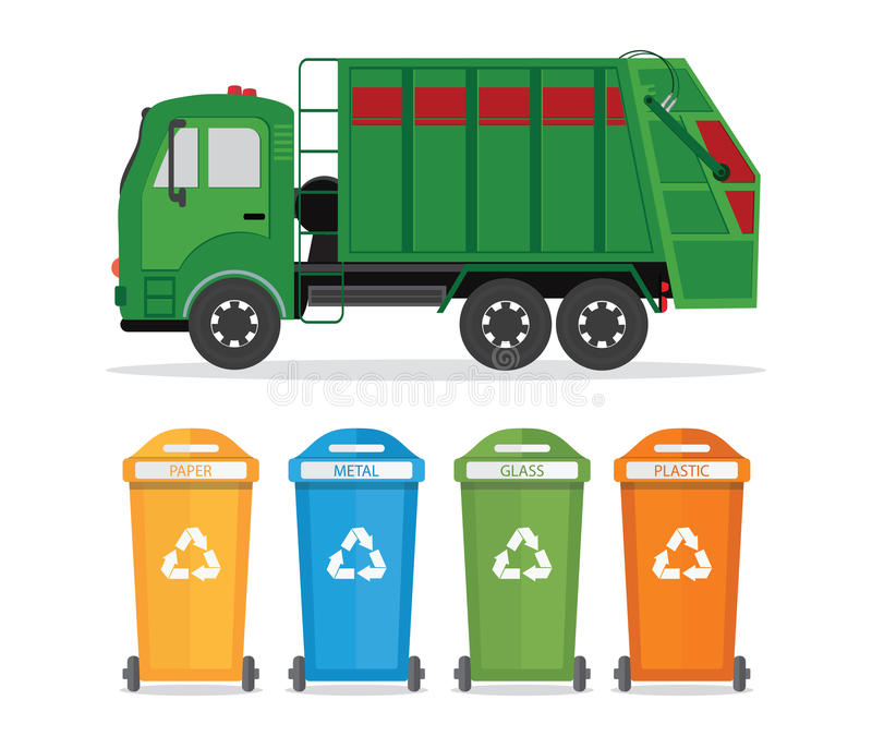 City waste recycling concept with garbage truck isolated on whit. E background. Vector illustration in flat design vector illustration