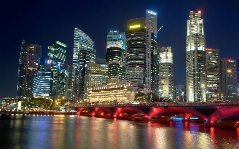 City waterfront with bridge royalty free stock photo