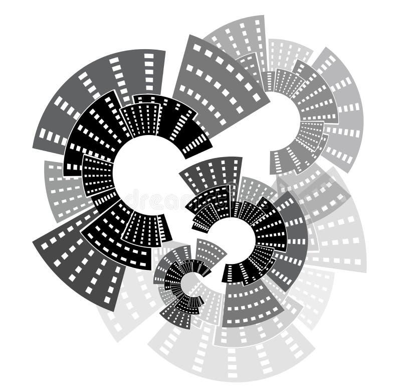 City wheels. City tall building wheels isolated stock illustration
