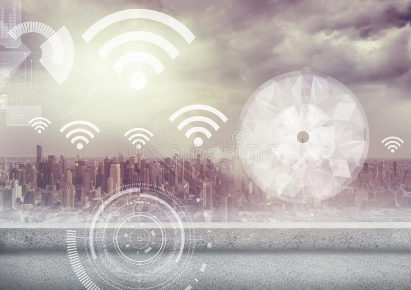 City with wifi icons. Digital composite of City with wifi icons stock illustration