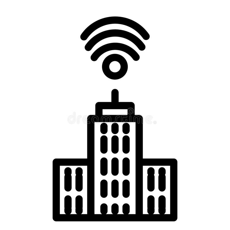 City with wifi line icon. Network and town illustration isolated on white. Smart city outline style design, designed for. Web and app. Eps 10 royalty free illustration