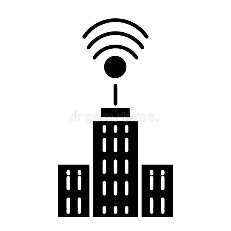 City with wifi solid icon. Network and town illustration isolated on white. Smart city glyph style design, designed for. Web and app. Eps 10 stock illustration