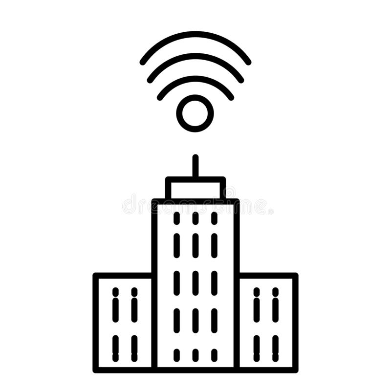 City with wifi thin line icon. Network and town illustration isolated on white. Smart city outline style design. Designed for web and app. Eps 10 vector illustration