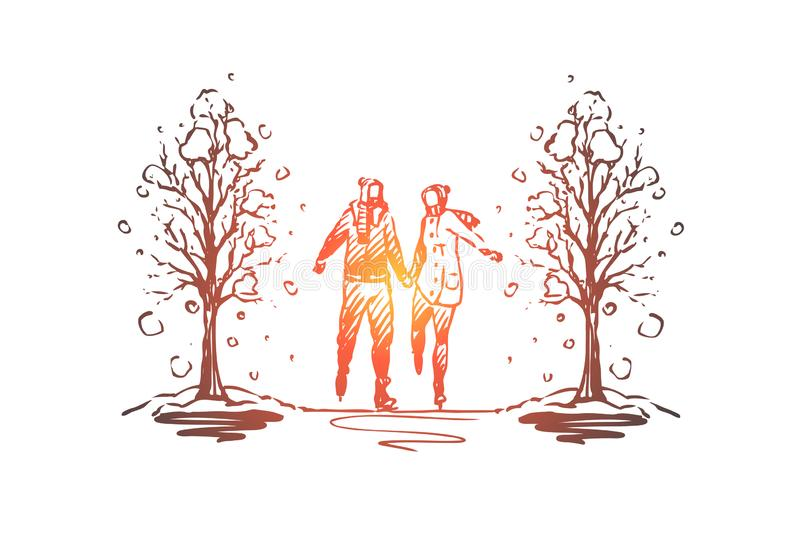 City, winter, couple, romance, park concept. Hand drawn isolated vector. stock illustration